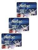Netac Tarjeta de Memoria de 32GB, Tarjeta Memoria microSDXC(A1, U1, C10, V10, FHD, 600X) UHS-I Velocidad de Lectura hasta 90 MB/s, Tarjeta TF para Móvil, Cámara Deportiva, Tableta, Dashcam(3 Packs)