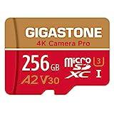 Gigastone [5 Años Gratuitos de Recuperación de Datos] Tarjeta Micro SD 256GB, Grabación de 4K Video para GoPro, Cámara de Acción, dji, Drone, Nintendo-Switch, 100/60MB/s Lec/Esc, UHS-I U3 A2 V30 C10