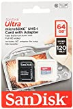 SanDisk Ultra 64 GB Tarjeta de Memoria microSDXC con Adaptador SD, hasta 120 MB/s, Rendimiento de apps A1, Clase 10, UHS-I